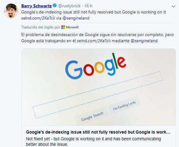 problema desindexación google