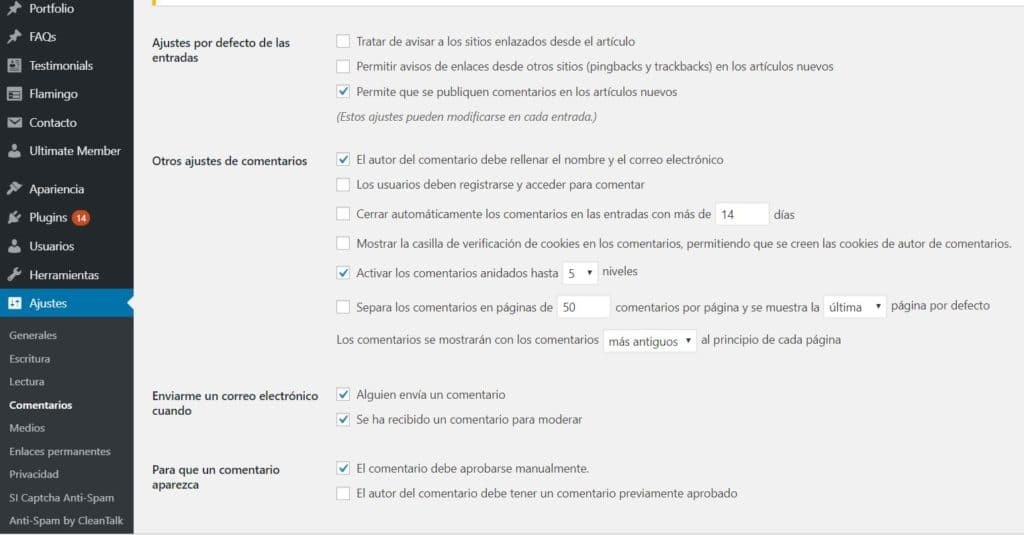 configurar comentarios en wordpress
