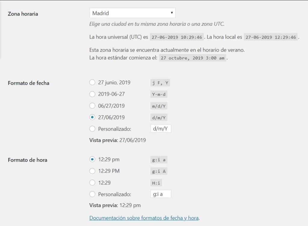 configuración fecha y hora wordpress