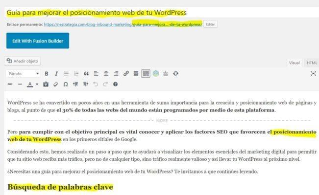 editar en wordpress Títulos URL y texto en entradas