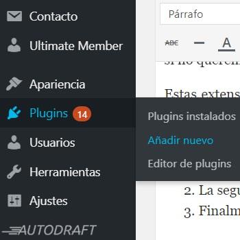 añadir plugins en wordpress